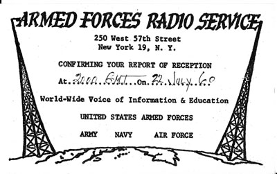 Armed Forces Radio Service 1962 (QSL No. 2)