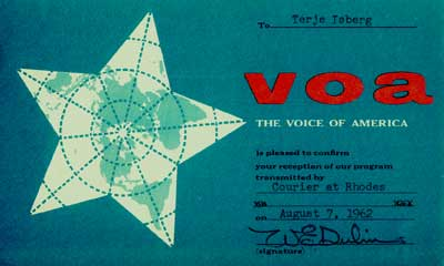 Voice of America from the ship Courier at Rhodes, Greece