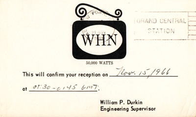 WHN with 50 kW on 1070 kHz (New York), 1966