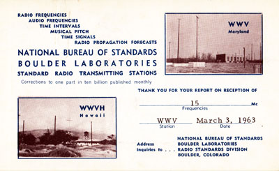 WWV in Boulder Colorado on 15 MHz, a time signal station, 1963