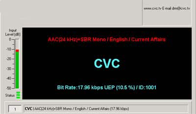 Transmission on 11815 kHz from CVC Radio DRM on 15th August 2005  transmitting from Moosbrunn, Austria