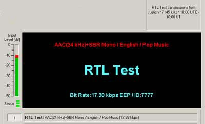 A test transmission on 7145 kHz from RTL Luxembourg transmitting from Juelich, Germany
