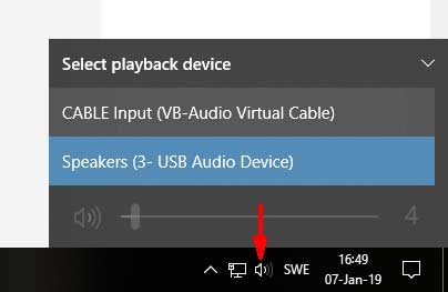 Set the System Speakers' output to the VAC cable (in newer versions of Windows 10)